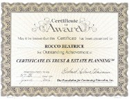Certificate in trust and estate planning from Foundation of Continuing Education - Rocco Beatrice Sr.: small