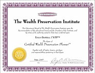 Certified Wealth Preservation Planner designation from the Wealth Preservation Institute: Rocco Beatrice