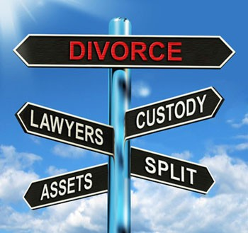 Divorce sign. Road signs: Divorce, custody, lawyers, assets.